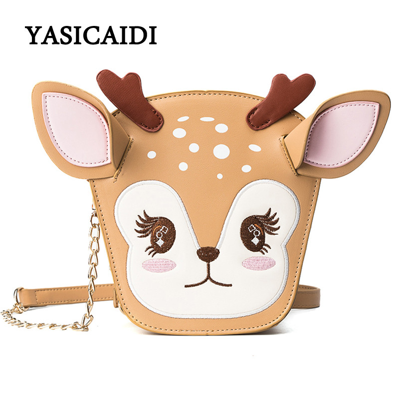Christmas Deer Shoulder Bag Fashion Women Chains Messenger Bags Pu Leather Cartoon Printing Ears Luxury Ladies Crossbody Bag fashion handbags pu leather women shoulder bag mickey big ears shell sweet bow chains crossbody female mini small messenger bag