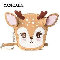 Christmas Deer Shoulder Bag Fashion Women Chains Messenger Bags Pu Leather Cartoon Printing Ears Luxury Ladies