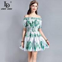 LD LINDA DELLA Fashion Runway Summer Dress Women Off The Shoulder Slash Neck Elastic Waist Casual