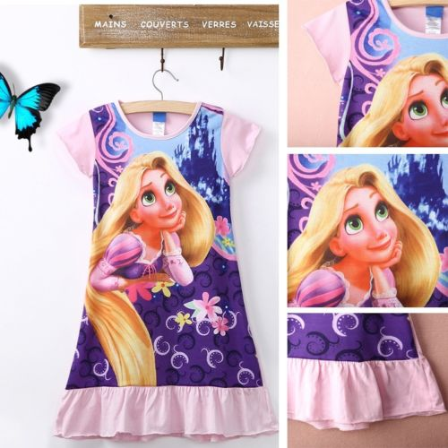 2016 Fashion Kids Girls Casual Dress Tangled Rapunzel Short Sleeve Cotton Pajamas Nightgown Dress 6-16T casual skew collar short sleeve bodycon dress