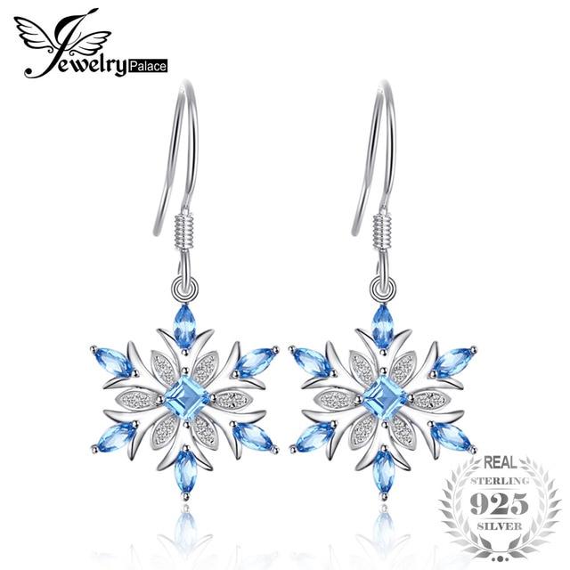 JewelryPalace Snowflake 1.4ct Genuine Swiss Blue Topaz Dangle Earrings 925 Sterling Silver R89wDSbj