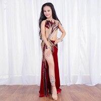 Новый роскошный бархат пайетки восточных танцев конкурс костюм наборы Sexy танец живота, длинные юбки для детей/ для девочек