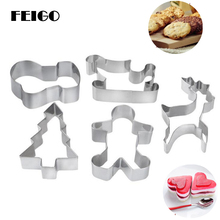 FEIGO 3D Stainless Steel Scenario Cookie Cutter Set Snowman Christmas Tree Cookies Mold Tools Biscuit Mould Cake Decoration F425 christmas tree cookies cutter stainless steel biscuit cake mold baking tools