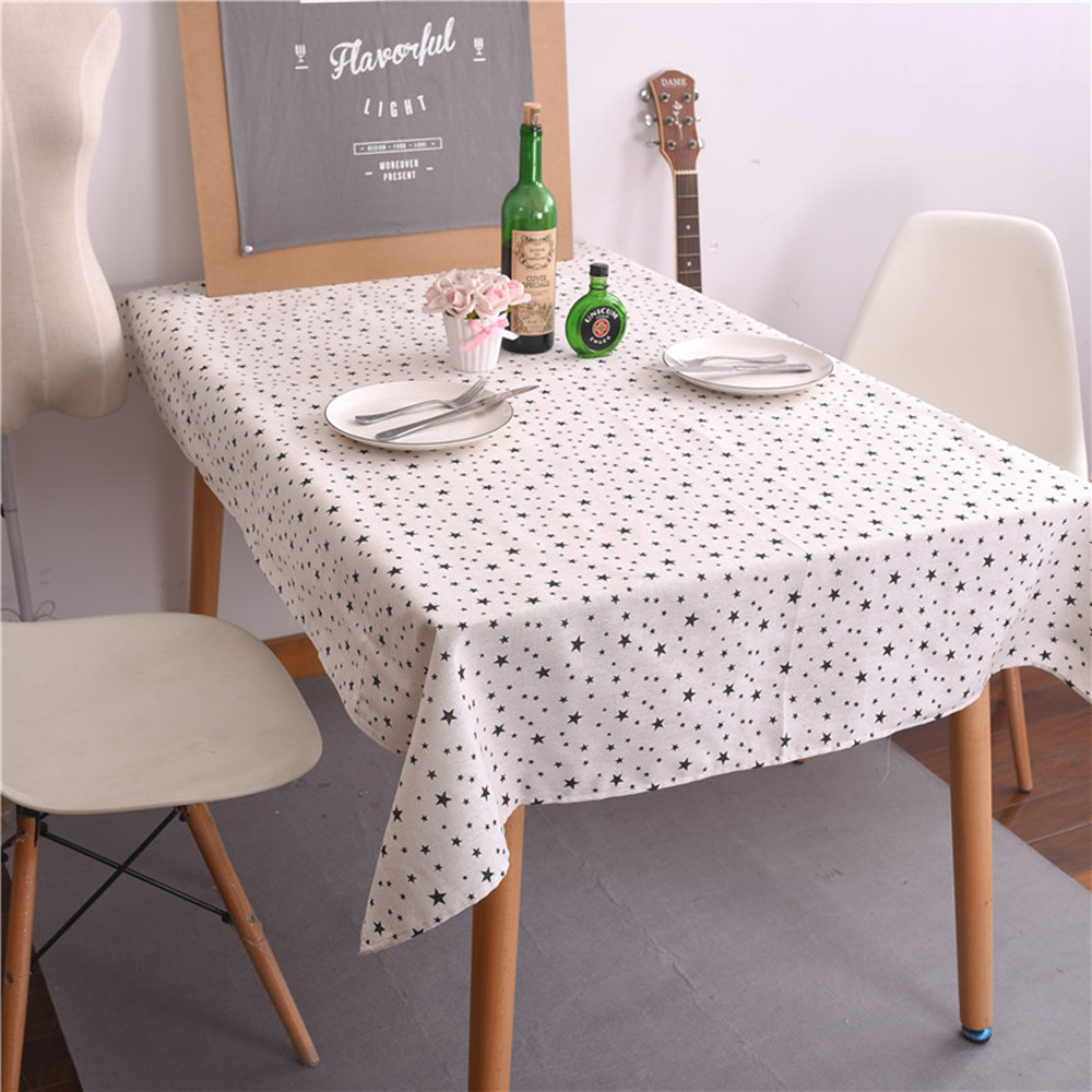 Star Pattern Table Cover Cloth Black White Plaid Kitchen Tablecloth Dining Room Christmas Decoration Home Textiles High Quality