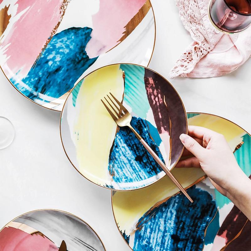 1 pz di stoviglie pittura Ad Acquerello nube 8/10 pollice di Ceramica Piatto Piatto di ceramica porcellana torta di snack piatto piatto piatto da dessert piastra