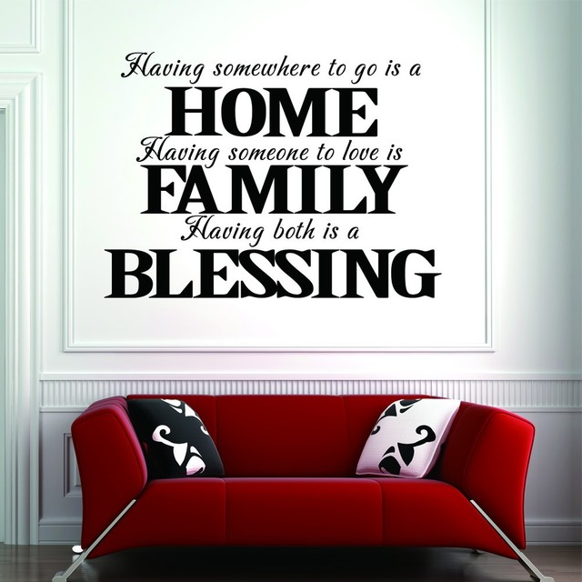 Having Somewhere To Go Is Home Blessing Family Love Quotes Wall - Vinyl wall decal adhesive