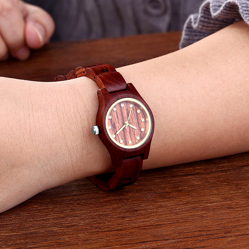 New Design Red Women Wooden Watch Luxury Brand Top Gift 5