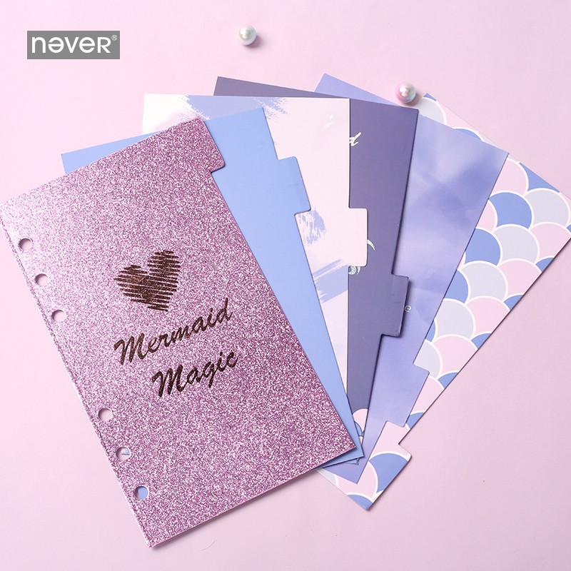Never Mermaid Series Index Pages Divider For Filofax Notebook A6 Planner Refill Accessories Diary Bookmark School Stationery