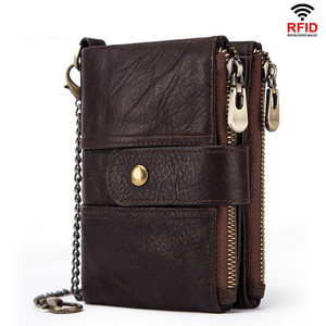 Image 1 - 100% Genuine Leather Rfid Wallet Men Crazy Horse Wallets Coin Purse Short Male Money Bag Quality Designer Mini Walet Small
