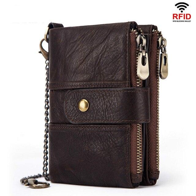 100% جلد طبيعي محفظة بشريحة RFID الرجال مجنون الحصان محافظ محفظة نسائية للعملات المعدنية قصيرة الذكور المال حقيبة جودة مصمم مصغرة Walet صغيرة