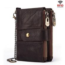 100% 本革 Rfid 財布男性クレイジー馬財布コイン財布ショート男性マネーバッグ品質デザイナーミニ Walet 小さな