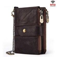 Portefeuille en cuir véritable pour hommes, Rfid 100%, portefeuille en cheval fou, porte monnaie court, sac à argent de styliste de qualité, Mini petit