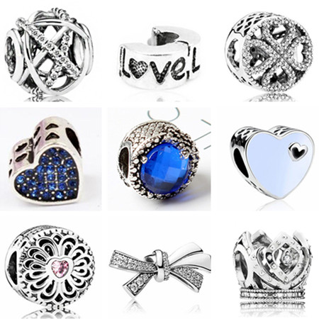 Fresh Style Charms European DIY Flowers Bowknot Wings Crystal Beads Fit Pandora Bracelets & Bangles for Women Girl Accessories(China)