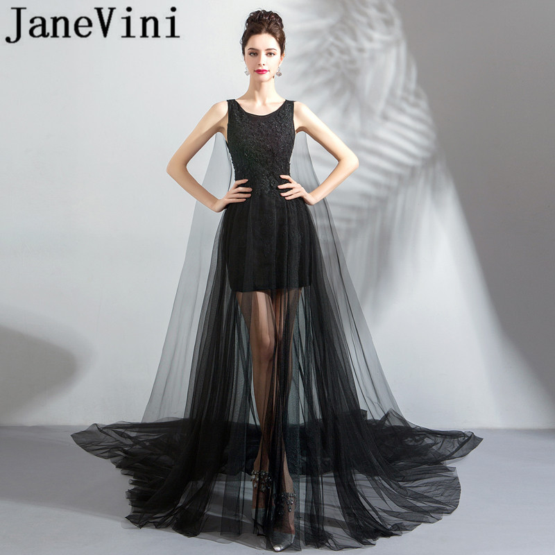 JaneVini Sexy Black Tulle Illusion Long Evening Dresses A Line Lace Applique Beaded Formal Mother Of The Bride Dress Court Train