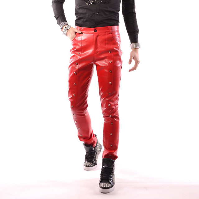 074eb07b Men Rivet Red Leather Pants Fashion Casual Punk Rock Style Trousers Slim Motorcycle  Pants Male Stage Show Performance Costumes