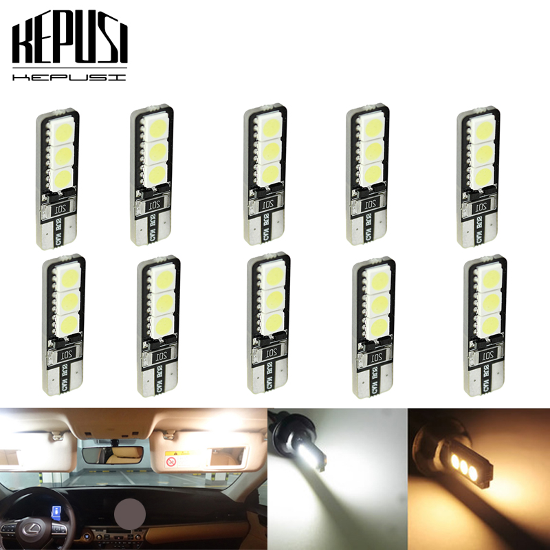 10pcs Bright Double No Error T10 LED 194 168 W5W Canbus 6 SMD 5050 LED Car Interior Bulbs Light Parking Width Lamp