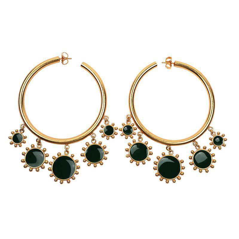 Statement Big Hoop Earrings Women Charms Gold Color Circle Earring Green Red Enamel Boho Punk Trendy Jewelry Hoops Huggie MC012
