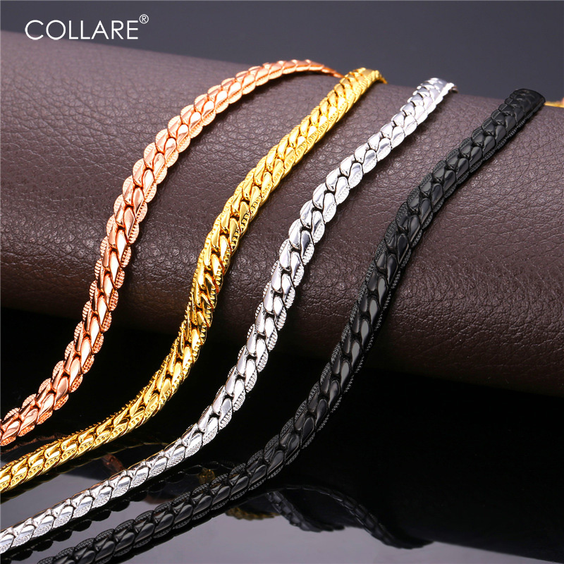 Collare Trendy Men Snake Chain Black Gun/Rose Gold/Gold/Silver Color Necklace Men Link Chain Jewelry Party Gift N513