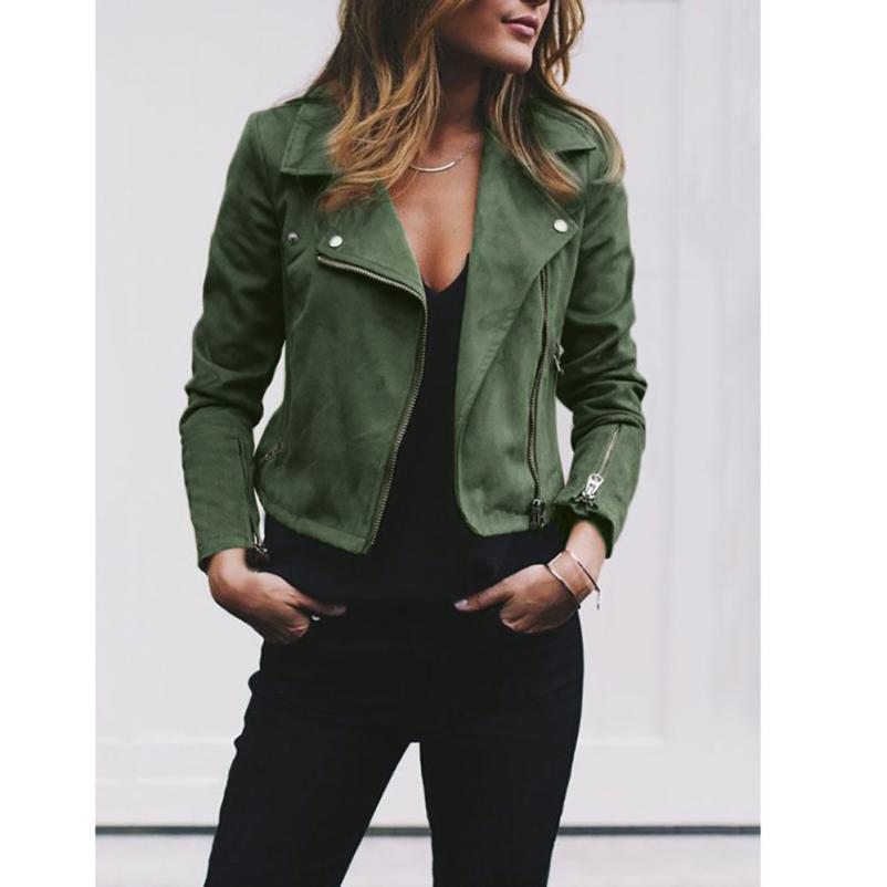 Outerwear & Coats Jackets Womens Ladies Retro Rivet Zipper Up Bomber Casual Outwear coats and jackets women 2018AUG10 1