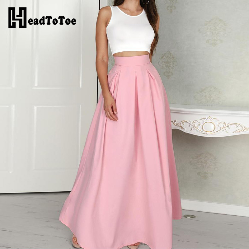 Female Summer Sleeveless Cropped Top & Pleated Skirt Sets Short Top Floor Length Skirt Two Piece Set Outfits for Women 2019