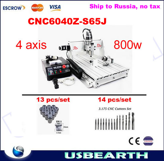 CNC Machine 6040 4 axis CNC Router CNC Engraver Drilling Milling machine 6040Z-S65J with tool bits, collets,Russia free tax