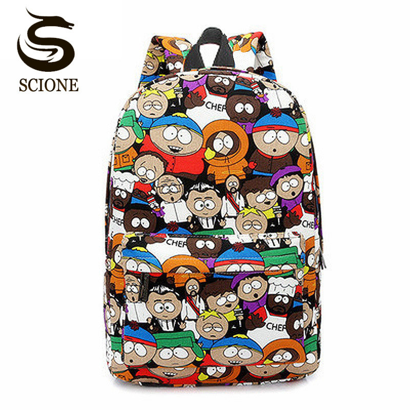 Casual South Park Cute Cartoon Women Canvas Backpacks Graffiti Student Bookbag College High School Daily Backpack For Teenagers chic canvas leather british europe student shopping retro school book college laptop everyday travel daily middle size backpack