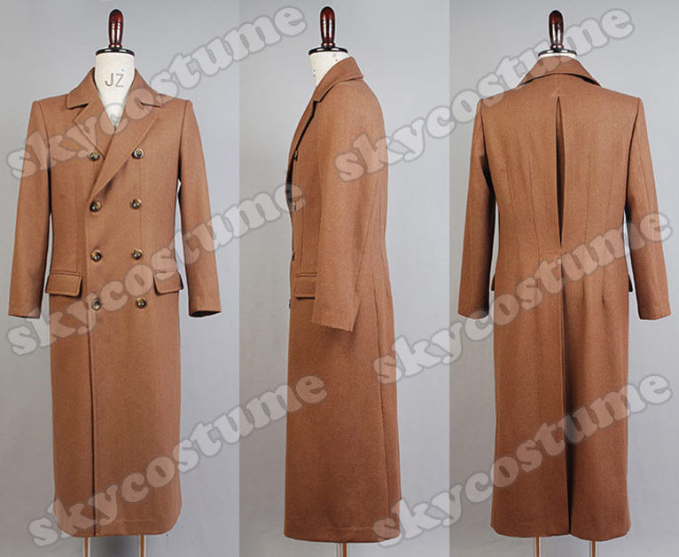 Movie Who is Doctor Dr. Brown Long Trench Men OverCoat Coat Cosplay Costume Wool Version