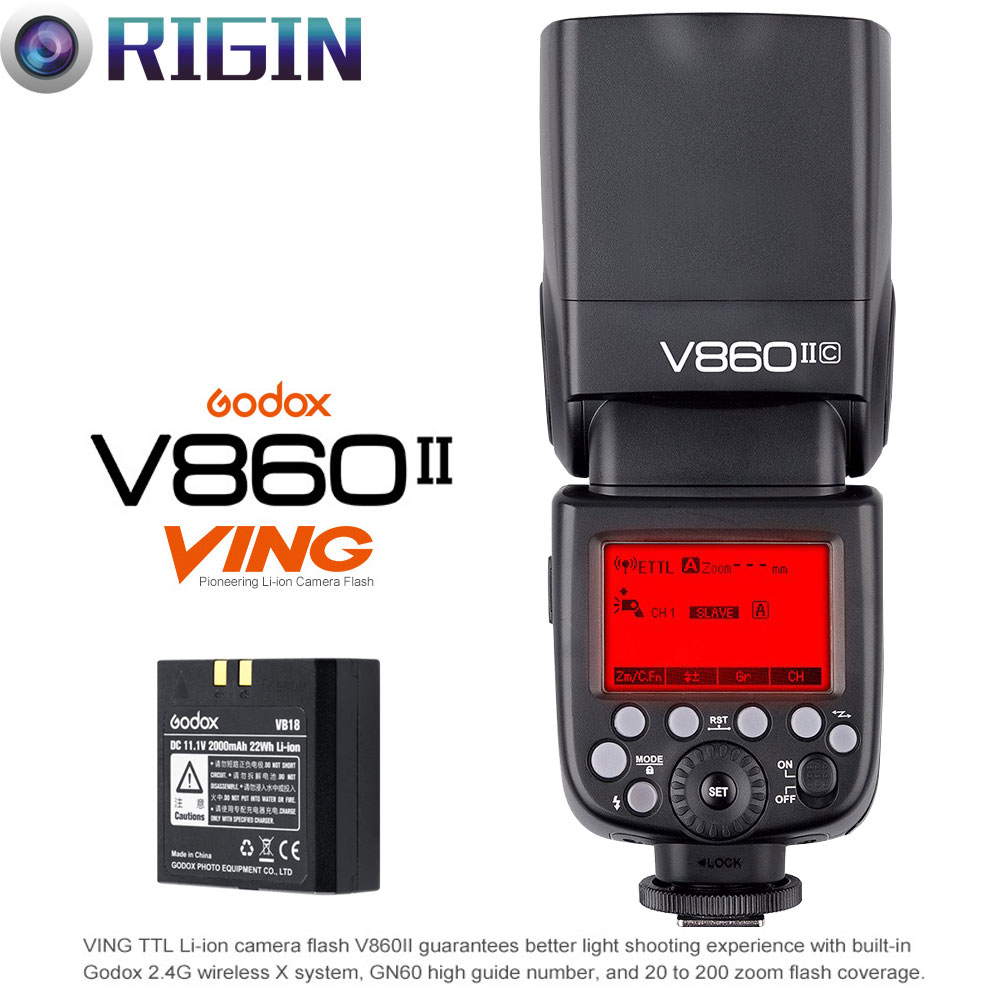 Godox V860II-C/V860II-N/V860II-S KIT TTL Camera Flash 2.4G Wireless (GN60 HSS 1/8000s Recycle time ii