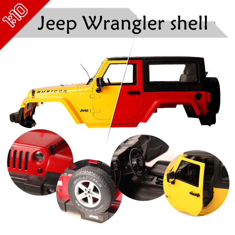 High Quality 1:10 Jeep Wrangler shell RC Rock Crawler Harder Plastic Rubicon Shell for Axial SCX10 RC4WD D90 TAMIYA CC01 parrts high tech and fashion electric product shell plastic mold