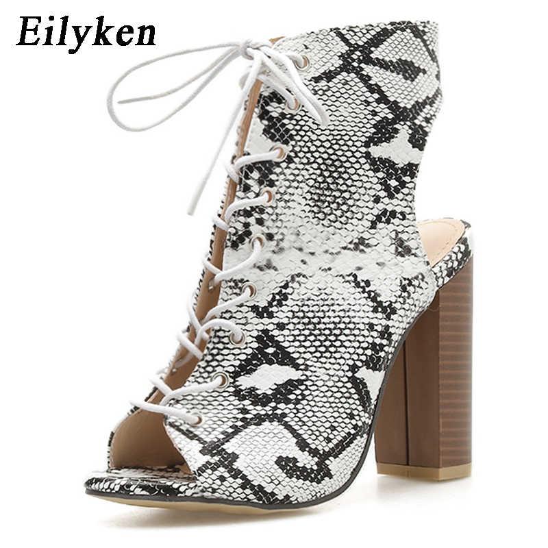 Eilyken yılan baskı sonbahar çizmeler kadınlar süper yüksek topuklu Peep toe bileği patik moda 2020 yeni kadın çizmeler boyutu 35 -42