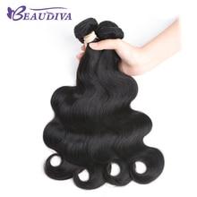 BEAUDIVA Pre-Colored Human Hair Weave 1B Natural Black 10-24 inch Soft Hair Bundles Free Shipping
