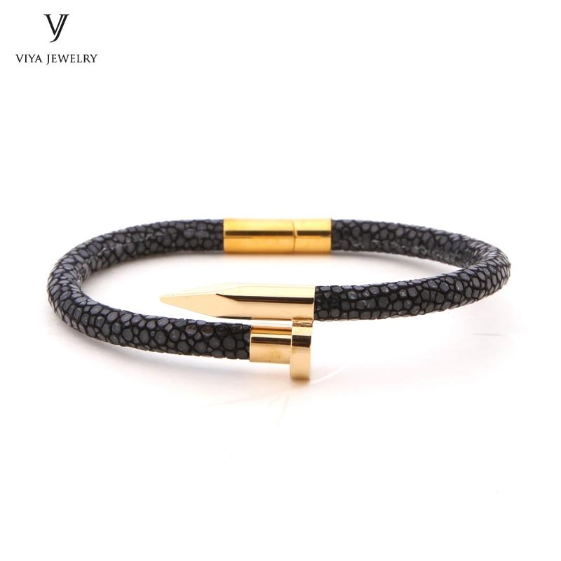 Most Popular Black Stingray Leather Rope Nail Bracelet High end Man Bracelet Hot Sale Nail Bracelet With Genuine Stingray Cords набор обеденных тарелок esprado peonies диаметр 22 5 см 6 шт