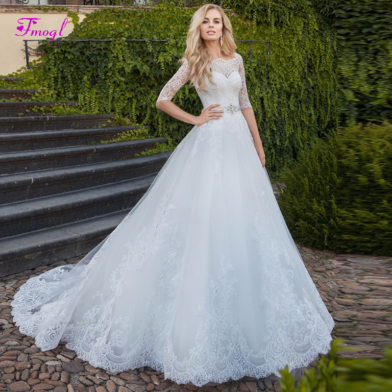 37aa771ac4e Fmogl Sexy Boat Neck Lace Half Sleeve A-Line Wedding Dresses 2019 Appliques Beaded  Crystal