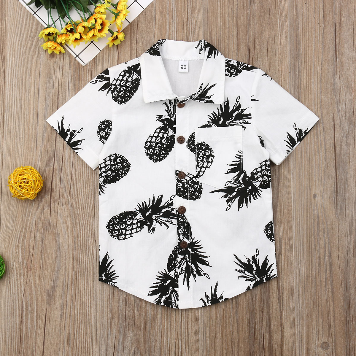 Pudcoco Summer Toddler Baby Boy Clothes Pineapple Print Short Sleeve Shirt Summer Holiday Casual T-Shirt Clothes