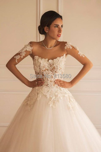 Ball Gown Sheer Neckline Long Sleeve Lace Applique Tiers Tulle ...