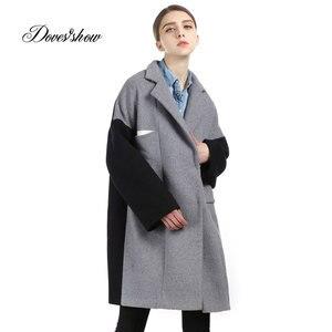 Women Long Patchwork Cashmere Coat 2017 New Woolen Coat Women Winter Jacket Overcoat Female Outwear Casaco Feminino Trench