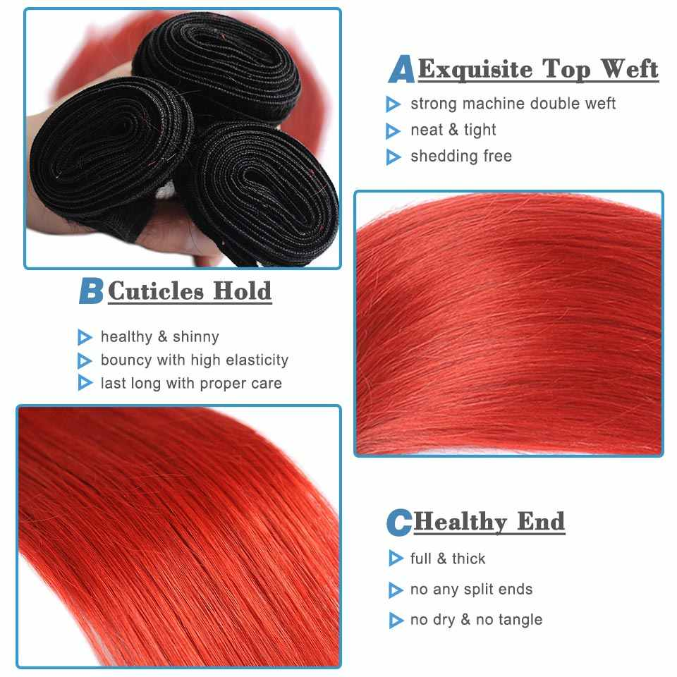 Remyblue Ombre 1B Red 99J Straight Hair Bundles 1/3 Pcs Brazilian Hair Weave Bundles Remy Human Hair Extensions Can Be Restyle