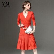 Yuoomuoo мода длинный рукав вязаный женское платье v-образным вырезом Кружево лоскутное элегантный Офисные женские туфли до колена платье для вечеринки и для работы платье