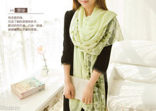 lady's 160*65cm Handmade yellow and green flower 2Sides Silk Floral embroidered Scarves