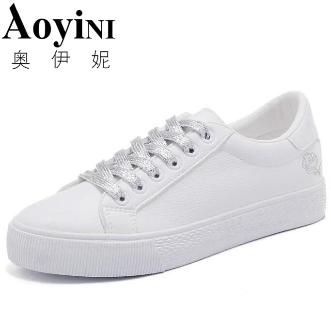 2018 Spring/Summer White Sneakers Women Ultra-soft Lace-up Casual Shoes Women Flat Platform Shoes Girl Shoes glowing sneakers usb charging shoes lights up colorful led kids luminous sneakers glowing sneakers black led shoes for boys