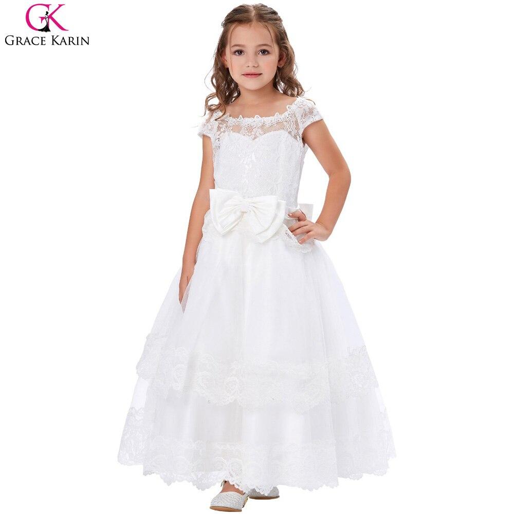 58b45944f52 2017 Cap Sleeve Elegant Big Bow Knot Flower Girl Dresses Ball Gown ...