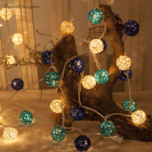 Feimefeiyou New 20LED dry flower ball Thai rattan light string Christmas day garden decoration lantern string lights led lamp