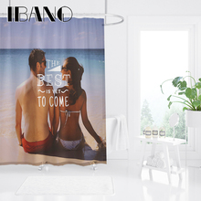 IBANO Inspirational Letter Shower Curtain Waterproof Polyester Fabric Bath For The Bathroom Decoration With 12pcs Hooks
