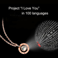 Women Luxury Silver Necklace Project Projection I love you in 100 Languages Crystal Choker Necklaces Romantic Gift for Lover