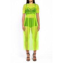 2019 See Through Mesh Sexy Dress  Club Women Pleated Ruffle Neon Maxi Long Black Plus Size Vestidos