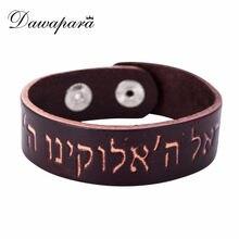 Dawapara pulseiras masculina genuína pulseira de couro masculino judaico masculino acessórios jóias manguito pulseiras para mulher