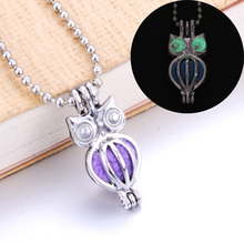 6pcs Cute owl Pearl cage Necklace Essential Oil Perfume Glow