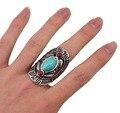 Idealway Богемный Стиль Тибет Серебряные Дизайн Красный Бирюзовый Драгоценного Камня Большой Бичи Boho Уплотнительные Кольца Для Женщин Мужчин Панк Ювелирные Изделия