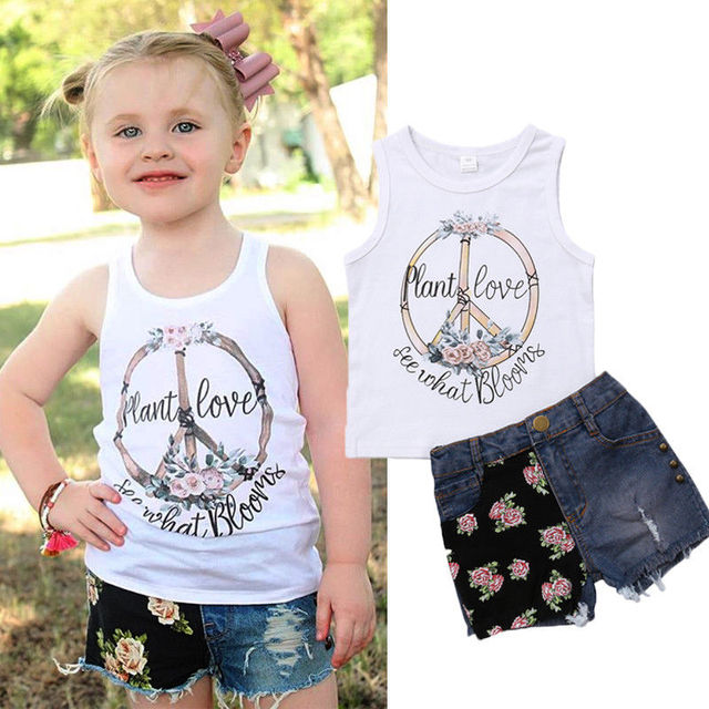 Fashion Sunflower Toddler Kids Baby Girls Vest Tops T-shirt Denim Shorts Outfits Clothes
