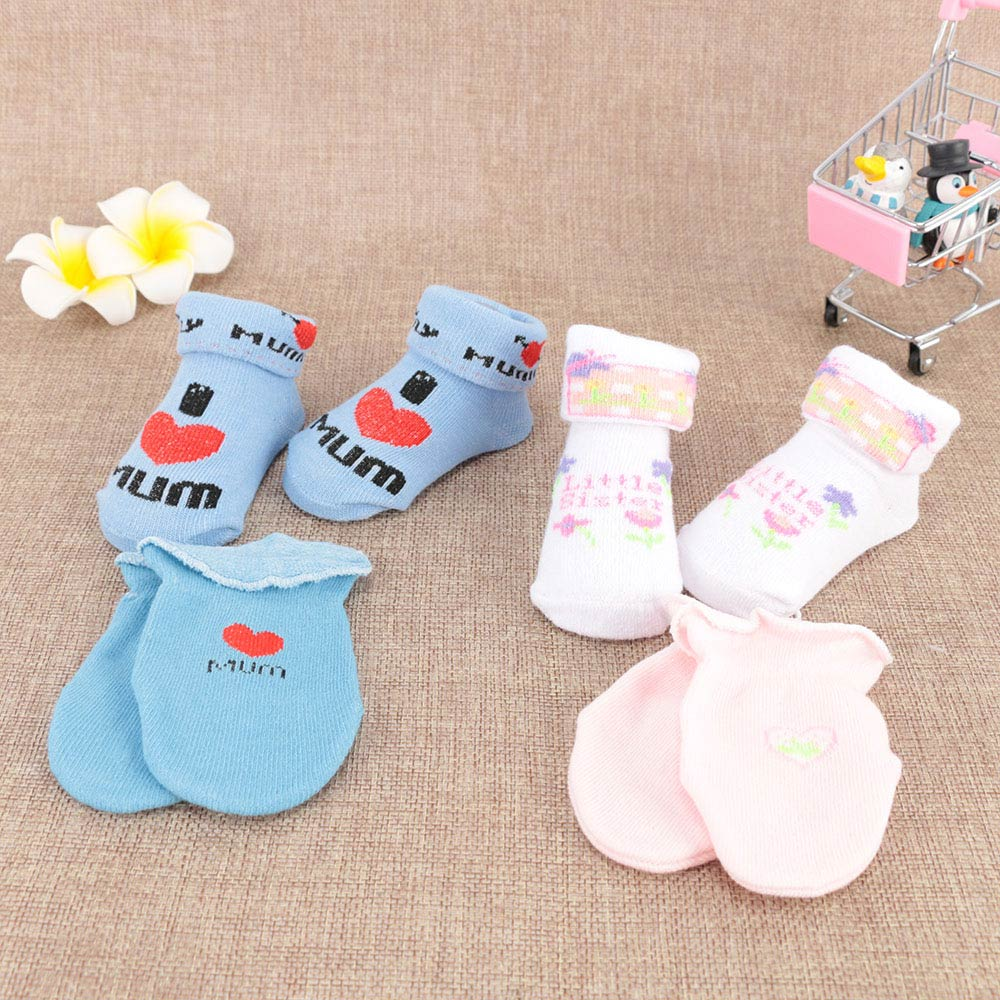 Lovely Baby Soft Anti Scratch Teething Mittens Gloves for Newborn Boys /& Girls
